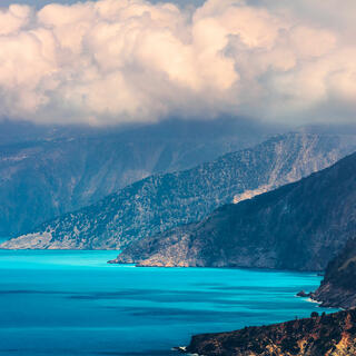 Greece; Kefalonia; island; ionian islands; europe; season; environment; outdoors; summer; azure; blue; colorful; landscape; nature; seascape; skyscape; cloud; horizon; sky; mountain; no person; terrain; bay; coast; mediterranean sea; ionian sea; sea; seas